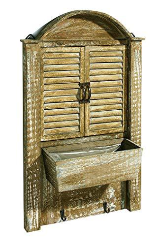 Kobolo Deko-Fenster Fensterladen - Holz - Schublade zum Bepflanzen - 44x14x76