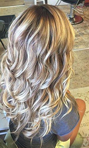 LaaVoo 22 Pouce 130% Perruque Blonde Highlighted Longue Naturelle Bouclee Bresilienne Femme Fantaisie Vrai Cheveux Sams Colle Lace Front Wig Natural Hairline Partie Libre