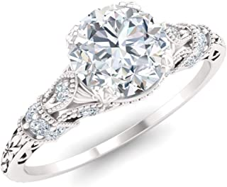 Diamondere Natural and Certified Diamond and Gemstone Engagement Ring in 14K White Gold | 1.06 Carat Art Deco Engagement Ring for Women, US Size 4 to 9