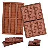 Fimary 2 Pack Silicone Chocolate Molds, Rectangle Wax Melt Molds Engery Bar...