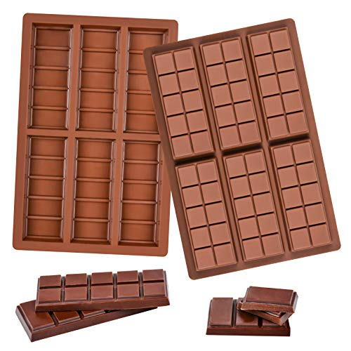Fimary 2 Pack Silicone Chocolate Molds, Rectangle Wax Melt Molds Engery Bar Silicone Molds for Chocolate Candy Bars, Non-Stick and Bpa Free (6 Cell 5 Section and 6 Cell 10 Section)