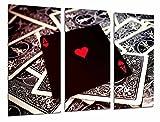 Cuadro Fotográfico Juego de Mesa, Casino, Cartas de poker, As de Corazones Tamaño total: 97 x 62 cm XXL
