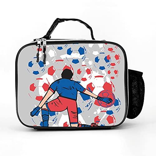 AXGM Bolsa isotérmica de deporte futbolista de fútbol, bolsa de almuerzo, bolsa térmica, bolsa isotérmica impermeable para niños y adultos, color blanco, talla única