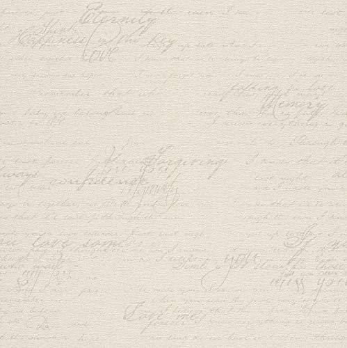 rasch Tapete 449549 aus der Kollektion Florentine II – Vliestapete in Creme mit brauner, kalligraphischer Schrift im Vintage Stil – 10,05m x 53cm (L x B)