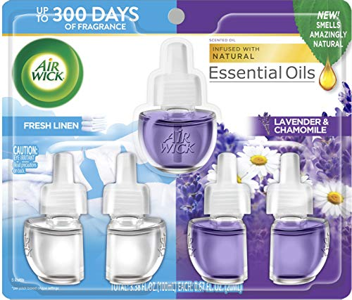 Air Wick Plug in Scented Oil Refill, Fresh Linen and Lavender, Air Freshener, Essential Oils, 5 Count,Fresh Linen and Lavender
