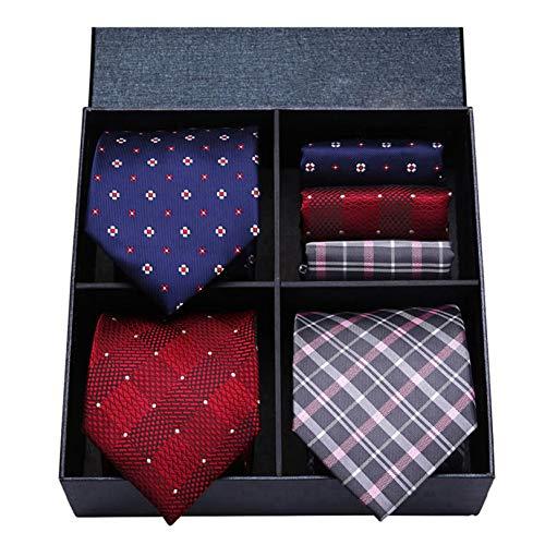 HISDERN Lotto 3 PCS Cravatta da uomo Classic Wedding Party Polka Dot Check Stripe tinta unita Cravatta e fazzoletto - Set multipli