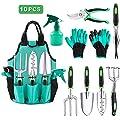 YCKJ Garden Tools Set 10 Pieces Gardening Hand Tool Kit, Piece Aluminum Hand Tool Kit, Durable Storage Tote Bag, Outdoor Gifts for Men Women