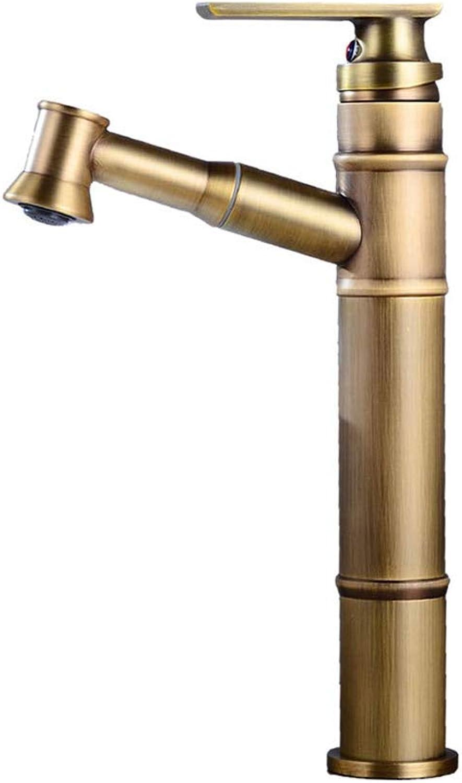 JYTNB Pull-Typ Waschbecken Wasserhahn, Vintage Einhebel bleifrei aus massivem Messing EIN Loch Deck Mount Badezimmer über der Theke Waschraum Toilette hei kalt Mischbatterie