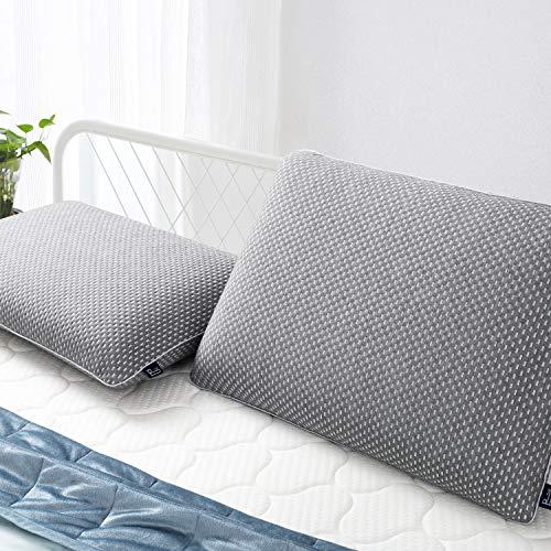 BedStory Almohada Cervical Carbón de Bambú Almohada Viscoelastica 60x40cm en Forma Ergonomica con Funda Desmontable y Lavable Almohadas Cervicales para Dormir Adecuada para Todas Posicións