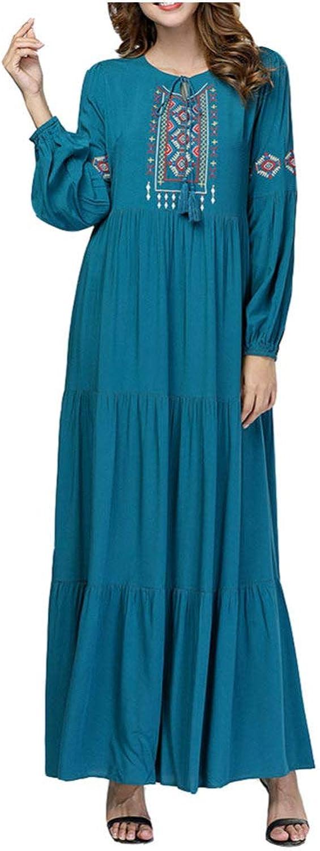QINJLI Ladies Dress, Simple Embroidered Big Swing Leisure Loose Large Size Muslim Robes National Style