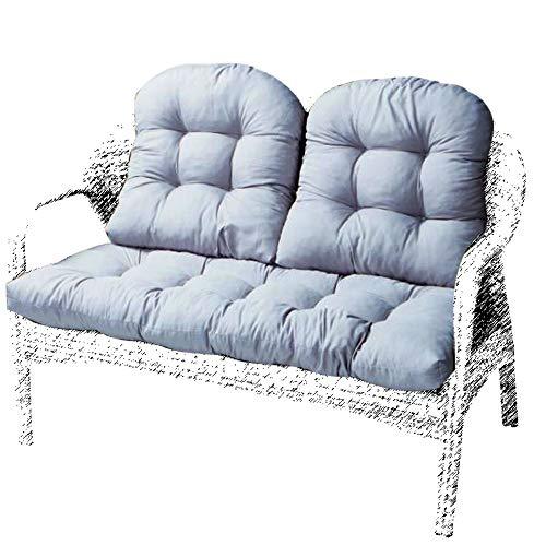 BoruisX Cojín para asiento de jardín de 2 plazas, cojín de banco suave para tumbonas y tumbonas, para exteriores, interiores, patio, reclinable, ocio, color gris