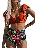 CheChury Mujeres Cintura Alta Bikini Trajes de Baño de Dos Piezas Push Up Cuello en V Profundo Control de La Barriga Bañador Retro Manga con Volantes Ropa de Playa