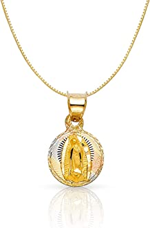 14K Tri Color Gold Diamond Cut Communion Stamp Religious Charm Pendant with 0.8mm Box Chain Necklace