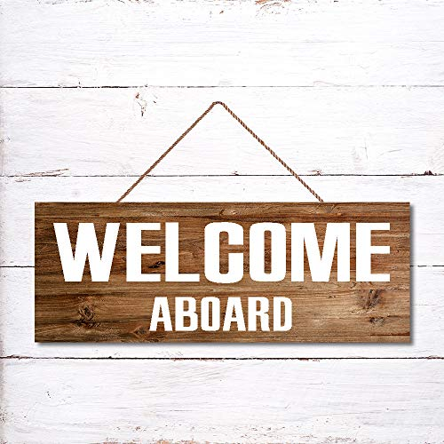 """Cartello da parete con scritta """"Welcome Aboard"""" in legno vintage per soggiorno, camera da letto, matrimonio, 25 x 60 cm"""