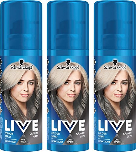 Schwarzkopf Live Colour Temporary Hair Spray, Granite Grey, Pack of 3