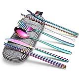 Tikkii - Juego de cubiertos de viaje con funda con cremallera, cubiertos de acero inoxidable, juego de utensilios de cocina para exteriores, reutilizables/portátil, 8 unidades Arcoíris.