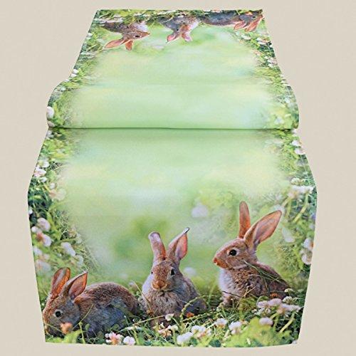 Kamaca Serie Hasen Trio mit süßen Häschen Trendiger Fotodruck Eyecatcher Frühling Ostern (Tischläufer 140x40cm)