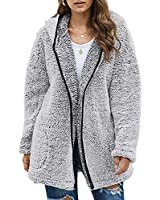 Dokotoo Womens Cozy Warm Fleece Loose Open Front Long Sleeve Casual Solid Fuzzy Fluffy Sherpa Hoodies Fashion Cardigans Coats Jackets Pullover Outerwear with Pockets Gray Large