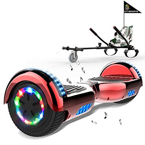 MARKBOARD Hoverboards Go Kart, Scooter eléctrico autoequilibrado de 6.5 , con Luces LED y Altavoz Bluetooth, hoverboards con Motor de 2x350W, con Asiento de Kart para niños y Adolescentes