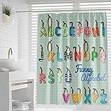 favonian Kinder-Duschvorhang aus Stoff für Badezimmer, lustiges ABC-Alphabet, Lernen in Hotel-Qualität, Badvorhang-Set mit Haken, 182,9 x 182,9 cm (bunt)