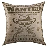 Mugod Decorative Throw Pillow Cover for Couch Sofa,Wanted Vintage Western with Cowboy Skull in Hat Crossed Guns Bullet Holes for Thematic Party Event Home Decor Pillow Case 18x18 Inch