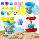 JOYIN Beach Sand Toys Set 18 Pcs with Bucket Pail and Spade Scoop Mesh Bag, Ice Cream Toys for Kids, Toddlers Beach Party Summer Activities Fun