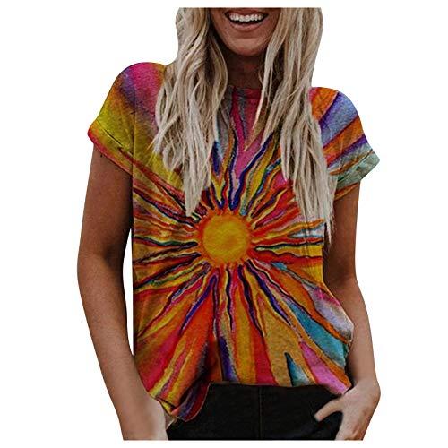Camiseta informal de manga corta con cuello redondo para mujer, diseño abstracto y gráfico de sol, para verano, camiseta básica, talla S-5XL
