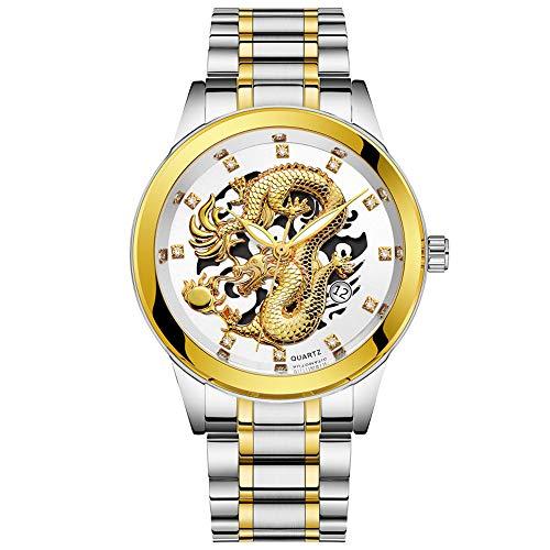 Beisoug Impermeable para Hombre Dragón de Oro Escultura Reloj de Cuarzo Reloj de Lujo para Hombres de Acero
