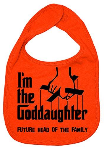 IIE Bavoir unisexe pour bébé avec inscription I'm The Goddaughter, Future Head of Family Orange