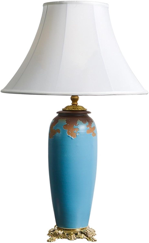 GJ- Continental Antike Keramik Lampe Wohnzimmer Studie Leuchten Komplette Kupfer Schlafzimmer Nachttischlampe (Farbe   Blau) B078V1Q1PQ | Haltbar
