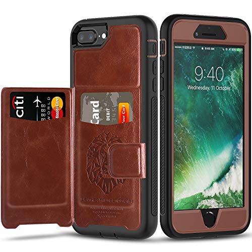 Timecity iPhone 8 Plus Case & iPhone 7 Plus Case with Built-in Magnetic Backing,(Leather Cover Series) Slim Yet Protective with Card Holders.Kickstand Wallet Case Fit for iPhone 6S Plus Case-Brown