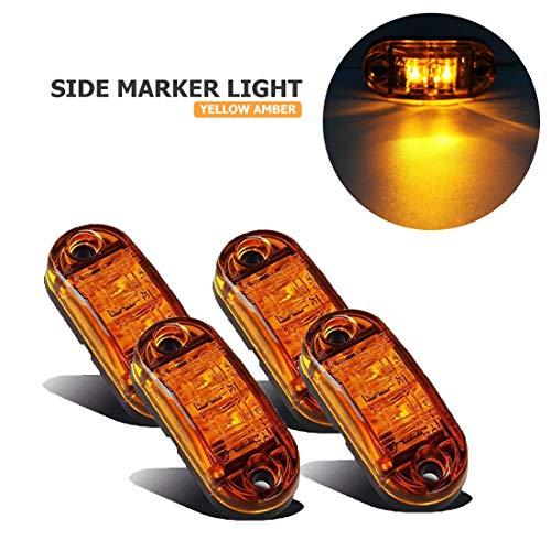 VIGORFLYRUN PARTS LTD 4X LED luz de Marcador Lateral Indicador de Posición Lámparas para Camión Remolque Caravana RV Bus Luz de Gálibo - Amarillo
