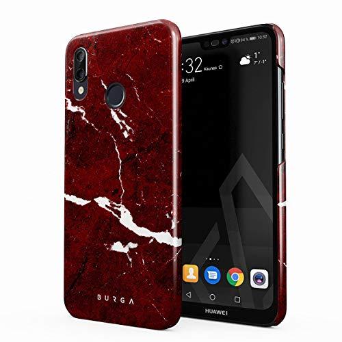 BURGA Hülle Kompatibel mit Huawei P20 LITE - Handy Huelle Iconic Rubin Rot Marmor Muster Ruby Red Marble Mädchen Dünn Robuste Rückschale aus Kunststoff Handyhülle Schutz Case Cover