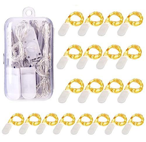 20 Stück LED Lichterkette Batterie, 1M 10LEDs Lichterketten für Zimmer, Micro LED Drahtlichterkette Innen für Party Weihnachten Halloween Hochzeit Dekoration