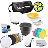 Gary Fong Flash Modifier with Newer 110 cm 43 inch 5-in-1 Collapsible Multi-Disc Light Reflector (Silver, Gold, White, Black & Translucent) with Vivitar Universal Portable Card Set & Cleaning Kit