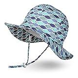 Ami&Li tots Niño Sombrero de Sol ala Ancha Ajustable Sombrero Protección Solar UPF 50 para Bebés, Niñas Niños Infantil Pequeñito Unisexo - M:Escuela de Peces