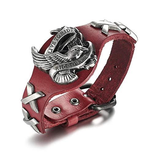 QFJCNZ Armband Lederarmband Für Männer Motorrad Einstellbare Armreif Männlichen Hip-Hop Schmuck
