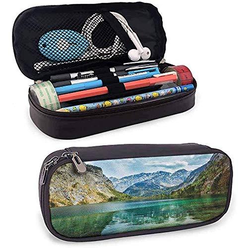 Paisaje Estuche para lápices Sereno Obersee Montaña Lago en el Valle de los Alpes Alemania Naturaleza Cuadro Azul pálido Verde jade