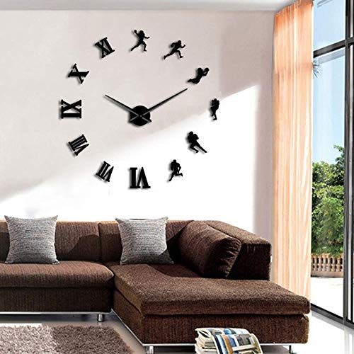 HWADMW 1pc American Football Player DIY Large Wall Clock Frameless Huge Wall Watch Sports 3D Mirror Wall Sticker Rugby Fans Gift 47inch Black
