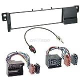 Carmedio BMW 3er E46 98-07 1-DIN Autoradio Einbauset in original Plug&Play Qualität mit Antennenadapter Radioanschlusskabel Zubehör und Radioblende Einbaurahmen schwarz