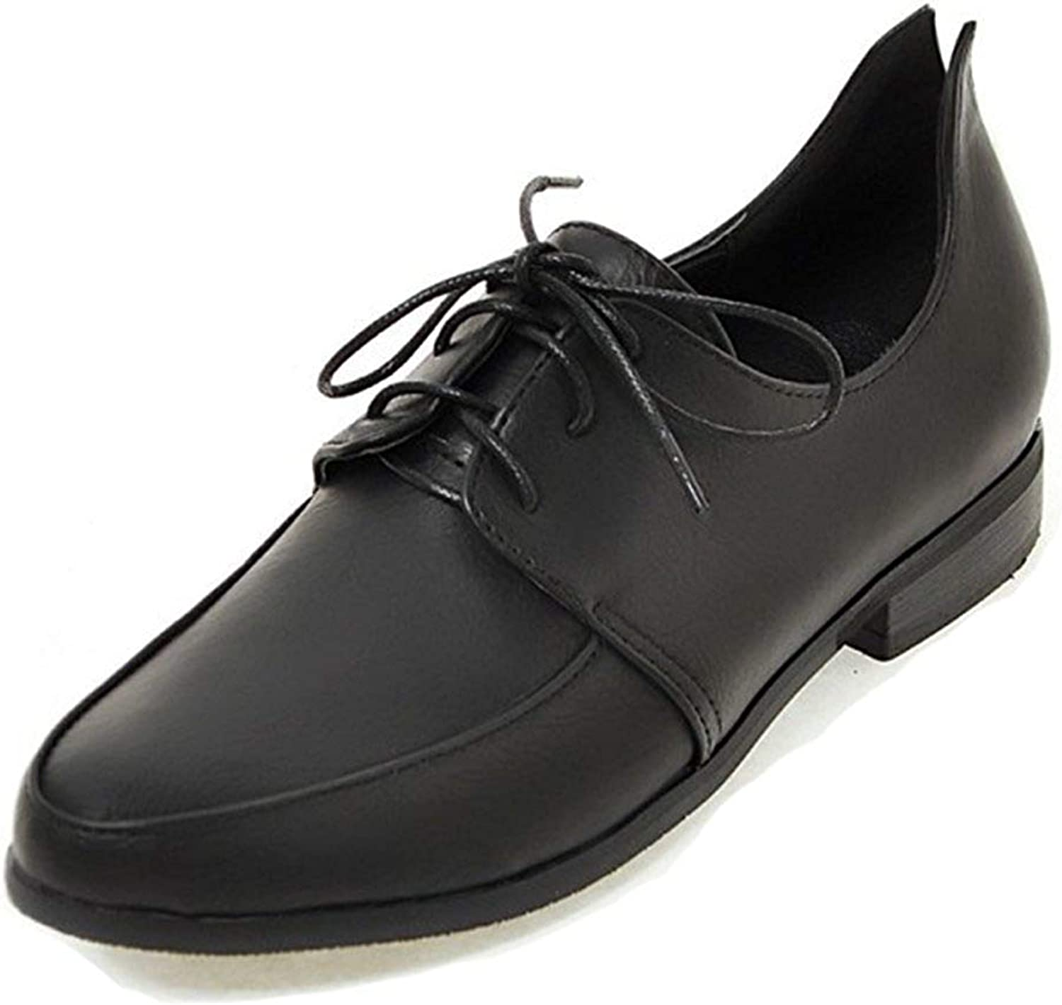 Women's Vintage Round Toe Lace Up Wear to Work Office Dressy Chunky Low Heel Oxfords shoes