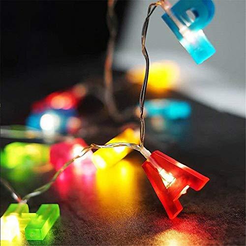 Cadena de luces LED de colores para dormitorio, sala de estar, Navidad, boda, fiesta, interior y exterior., Color (feliz cumpleaños)., 1,5 m