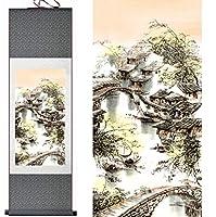 風景画ホームオフィス装飾中国のスクロール絵画風景画絵画江南絵画印刷された絵画-140cmx45cm_Green_package