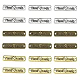 Aweisile 120 piezas Etiqueta de metal Etiquetas Hecho a Mano con Agujeros Botones de Metal Coser Etiquetas Handmade Etiqueta accesorios de costura para Manualidades,25mm