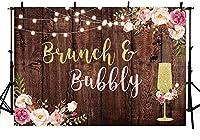 新しい250x180cmのブランチと陽気なブライダルシャワーパーティーの背景スタジオ写真素朴なブラウンウッドグリッターライトピンクフローラルゴールドシャンパン背景素朴なウェディングバナーフォトブース