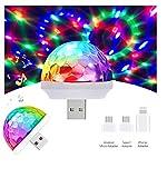 USB Mini Disco Ball Light Party Lights Sound Activated, Christmas DJ Disco Stage Lights-Multi Colors LED Car Atmosphere Light,Magic Strobe Light for Xmas Parties,Pool,Club,Church,Karaoke,Wedding
