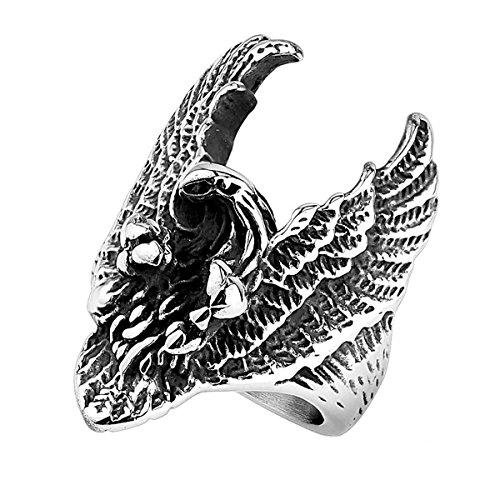 Piersando Herren Ring Edelstahl XXL Biker Rocker Männer fliegender Adler Herrenring 39mm Breit SilberGröße 66 (21.0)
