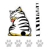 EQLEF Sticker Réflectif d'Essuie-Glace de Pare-Brise en Forme de Chat Cartoon Mignon Drôle avec Sa Queue dans l'Essuie-Glace pour Voiture