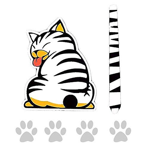 EQLEF® Cartoon Funny Cat movimiento cola pegatinas reflectantes para ventanillas de coche Limpiaparabrisas estilo de coches Adhesivos