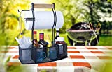 Superior Trading Co. Steel Caddy For Organizing Paper Towels, Condiments, Tools for Grill, BBQ, Picnics, Household Cleaning, Garage, Cars Caddy, Black, Large